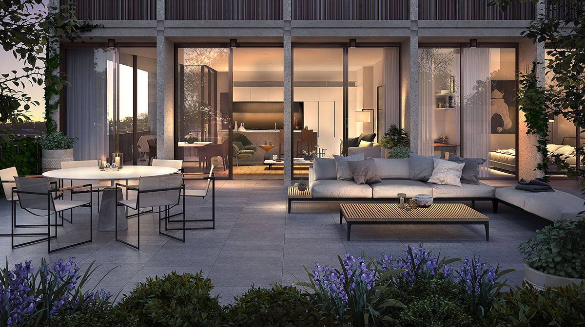 TPAA0150_Newmarket_Stage_2_IN03_Living_Terrace DUSK