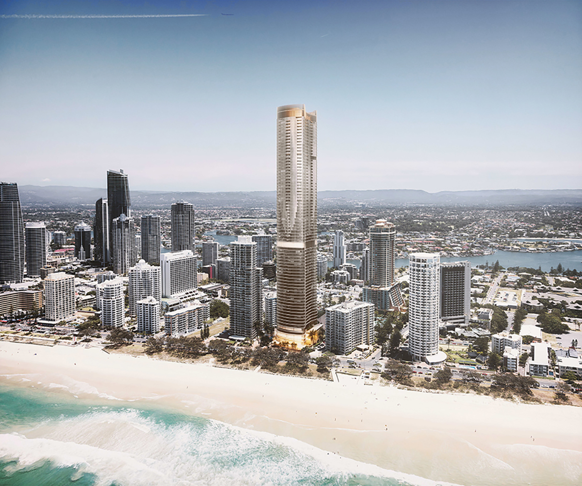 Surfers Paradise luxury waterfront apartment tower; Gold Coast